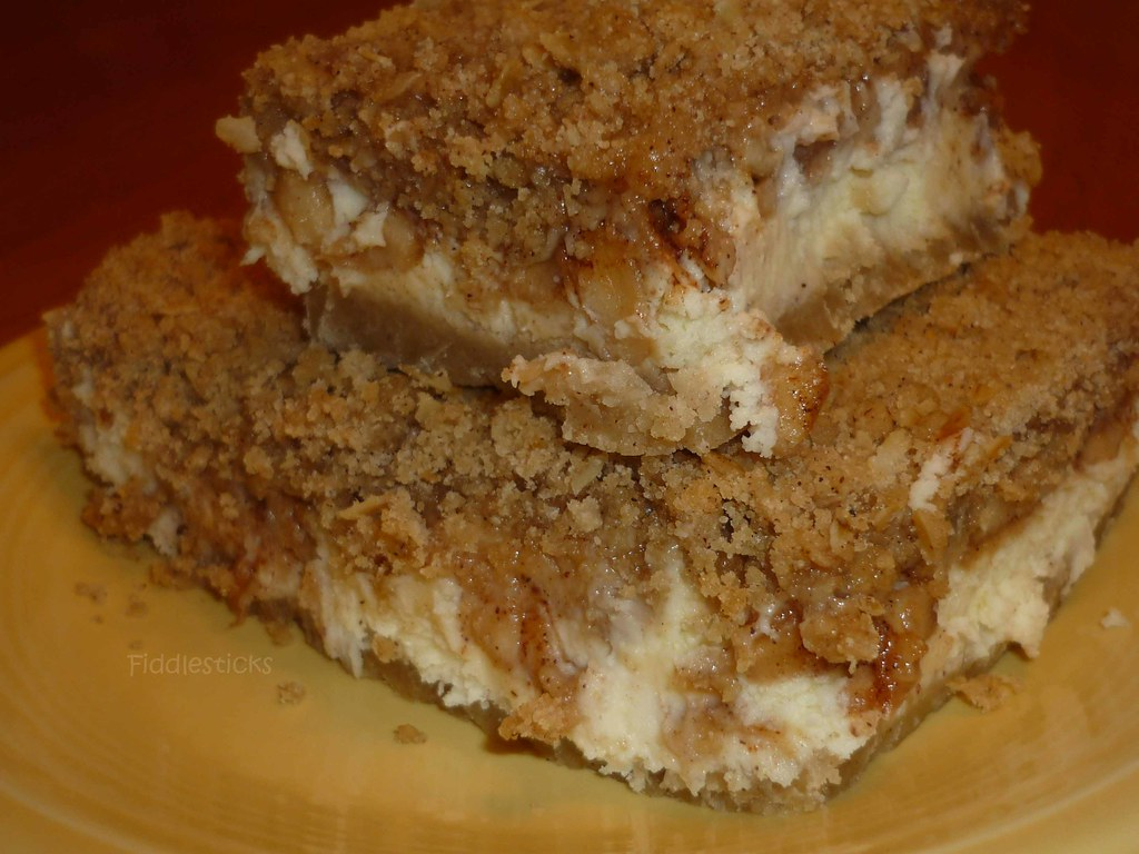 Caramel Apple Cheesecake Bars with Streusel topping!!