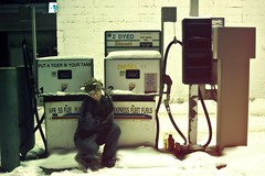 put a tiger in your tank (enjoythelittlethings) Tags: self tiger exxon gaspumps vintagecoverallsgirlgasstationattendent365cutefunsnowcoldsnowingabandonedwellalmostkindaabandonedtotwtinywordsputatigerinyourtank