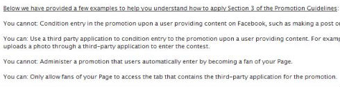 Part of Facebook's promotional guidelines