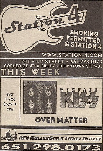11/26/05 Vintage Kiss @ Station 4, St. Paul, MN (Ad)