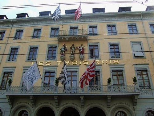facade of exclusive hotel in Basel