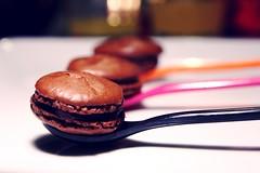 Three Chocolate Macarons (guy*) Tags: flowers french dessert dof chocolate cook spoon macaroon francais lierre miam macaron
