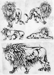 LEOES (Black Crown . tribal) Tags: white black art animal branco tattoo illustration dark design feline king arte lion tribal preto e felino tatoo ilustrao rei desenho leo escuro