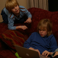 Russell posts to his weblog while Silas supervises