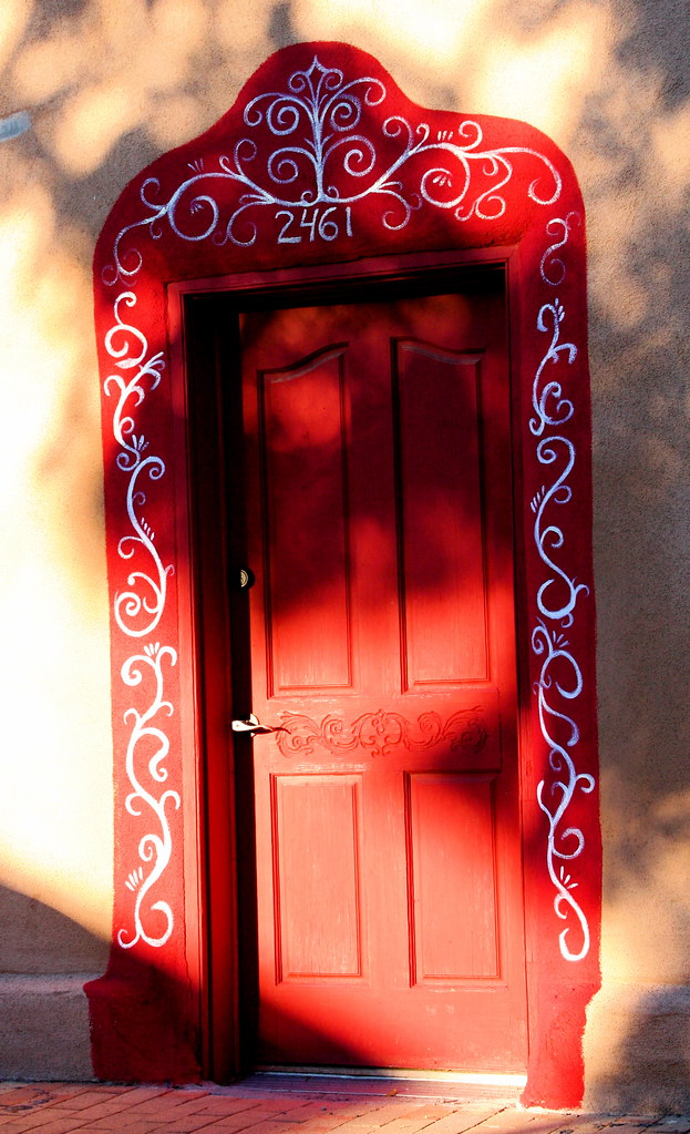 Red Door in Evening Shadows