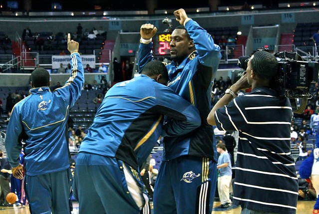 andray blatche, kevin seraphin, washington wizards, nba, warm ups