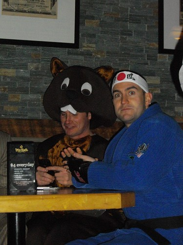Guy in a beaver suit and someone who is apparently supposed to be GSP