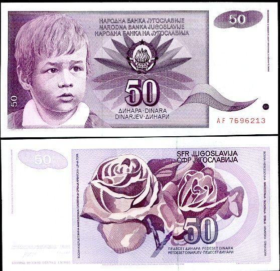 50 Dinárov Juhoslávia 1990, P104