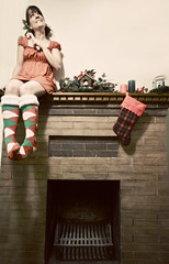 santa baby, hurry down the chimney tonight (enjoythelittlethings) Tags: santa christmas xmas decorations red green girl socks self canon fireplace candles dress holly 365 stocking candycane mantle cliche hcs