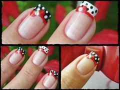 Unha da semana - Lacinho vermelho (Mhilka ♥) Tags: cute art branco nail preto dot vermelho bolinha unha lacinho francesinha
