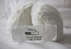 Day 14/365 ~ Thinking.. (Amanda Mabel) Tags: people white black ink handwriting vintage paper fur am bed do day who 14 want pillow dont hate when thinking keep 365 done talking earmuffs those until listen interrupt amandamabel