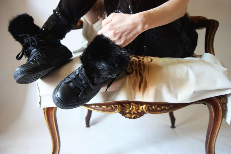 DIY mink fur converse sneaker refashion (IN)DECOROUS TASTE 1