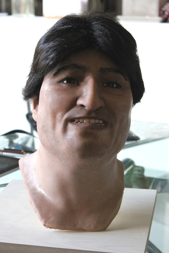 hiperrealism head of Evo Morales in Silicone