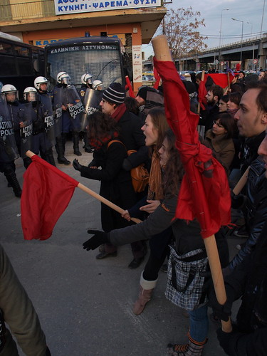 Stand off between protesters and police - Thessaloniki, Greece