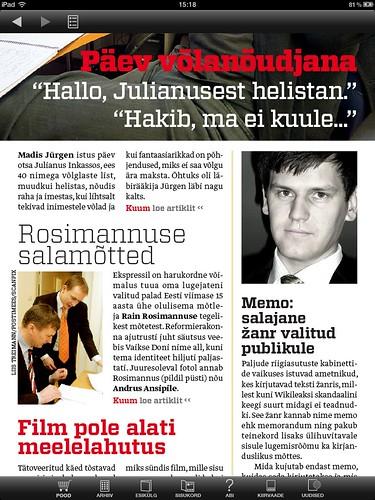 Eesti Ekspress iPadil: sisukorra leht