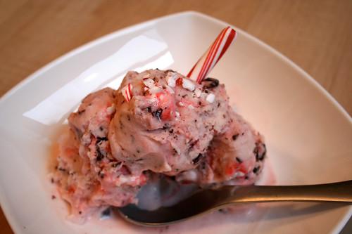 Vegan Peppermint Stick and Chocolate Chunk Ice Cream