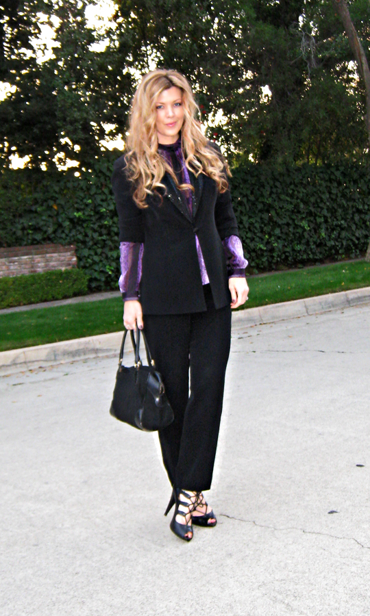 black and purple+black suit