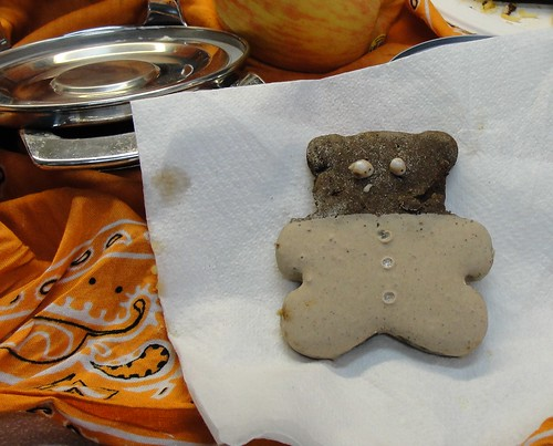 A single bear-shaped cookie with missing decorations