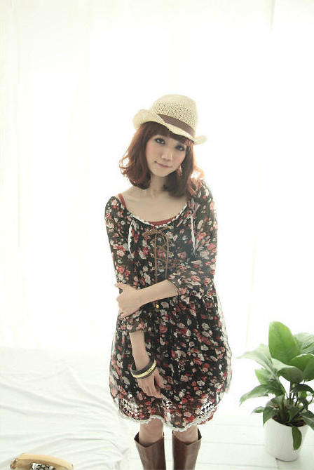 Lovely Leather-Tied Chest Floral Chiffon Dress - Black1.2