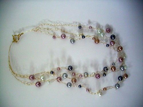 "Crochet ""Multicolor Pearls"" Necklace w/Gold Chain & Clasp"