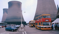 Rugeley Power Station open day, 1986 (Lady Wulfrun) Tags: bus buses 1986 1980s powerstation yellowbus fleetline vwgolf stevensons coolingtowers dms rugeley septemeber stevos ouc53r uttoxetter drycoolingtower