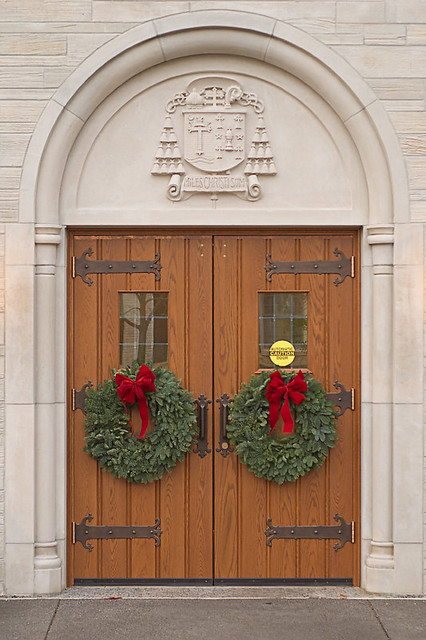 Annunziata Roman Catholic Church, in Ladue, Missouri, USA - door with Christmas wreathes