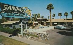 Sandman Motel - Phoenix, Arizona (The Pie Shops Collection) Tags: arizona phoenix sign vintage postcard motel vanburen sandman