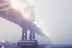 Manhattan Bridge in Blizzard, New York City (andrew c mace) Tags: nyc newyorkcity longexposure winter snow newyork brooklyn night snowstorm dumbo wideangle tokina1224 manhattanbridge eastriver blizzard nikoncapturenx nikond90