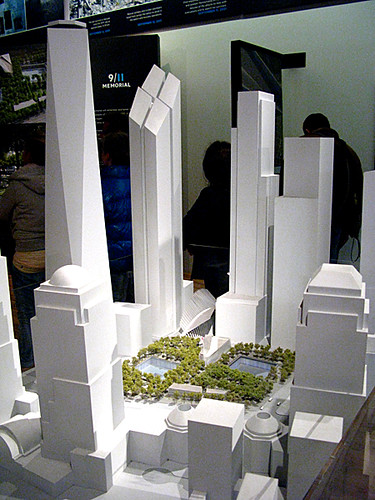 Model of the new buildings planned for the September 11 site, New York, by Karen Strunks