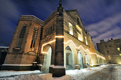 Elphinstone Hall in the snow, King's College, Old Aberdeen (iancowe) Tags: christmas old winter tower night scotland hall university rooms lawn scottish chapel aberdeen graduations cromwell linklater elpinstone
