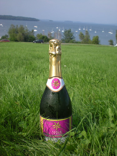 Our bottle of bubbly on the coast of Maine