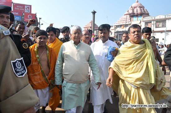 happy new year 2011, Sri Laloo Prasad Jadav at Jagannath puri