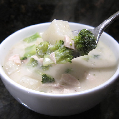 Not Too Cheesy Chicken, Broccoli & Potato Soup