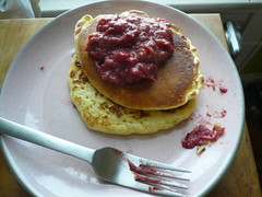 Pancakes and Cranberry Curd