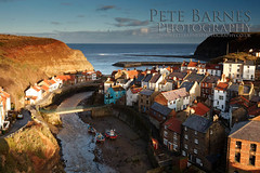 Staithes at Sunset (Pete Barnes Photography) Tags: ocean uk sunset sea england blackandwhite cloud sun seascape colour art tourism nature water rock sunrise landscape outdoors happy mono bay town blackwhite nationalpark seaside waves village yorkshire dramatic calm enjoy whitby leisure northyorkmoors westyorkshire staithes eastyorkshire flamborough landscapephotography flanborough blacknab landscapephotographer robinhoods petebarnes saltswick
