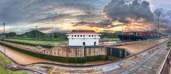 Panama Canal Panorama (ajagendorf25) Tags: road street sunset red sky mountains green water clouds boat canal high nikon ship dynamic lock sigma cargo hills container transportation locks panama range 1020 hdr miraflores d90 ajagendorf25 alexjagendorf