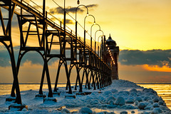 South Haven Pier (Second Glance Photos Kevin Ryan) Tags: winter sunset lighthouse lake snow cold ice nature canon landscape pier michigan ambient 5d catwalk southhaven 70200f28lis