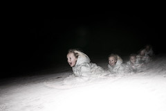 weeeeeeeee! (randyr photography) Tags: winter snow cold kids fun happy experimental michigan sony flash hill sledding alpha screaming sled a850