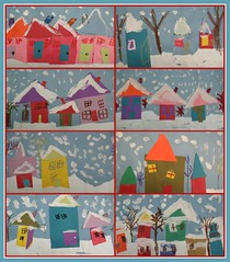 kindergarten snowy villages (artsy_T) Tags: houses winter snow collage triangles painting paper village squares drawing cutting kindergarten rectangles