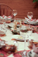 Table Prepped for Christmas (Art Malczewski) Tags: christmas family light dinner table candle interior knife fork indoor spoon christian holy bible tradition pierogies barszcz