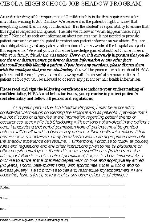 Job Shadow Hipaa Consent Form