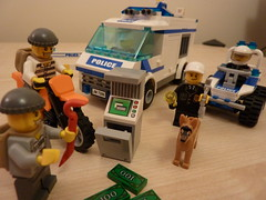 Lego: Criminals caught red-handed! (lydia_shiningbrightly) Tags: dog macro closeup toy lego zoom police criminals doghandler