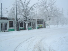 Green Line Trolley (hansntareen) Tags: winter snow weather t newengland mbta lightrail blizzard brookline greenline noreaster 2011