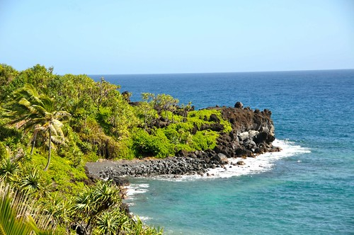 Black-sand beach in Hana.