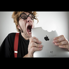 384/730: An Apple a day... is getting quite expensive (Mr. Flibble) Tags: apple fruit glasses braces eating eat doctor electronics bite omg chomp 730 ipad chomping explored flibble anappleadaykeepsthedoctoraway idrinkleadpaint