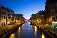 Naviglio Grande ([~Bryan~]) Tags: city sunset italy milan architecture night river town canal bluehour afterdark magicmoment navigliogrande milancanal