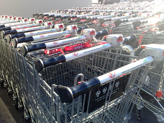 Supermarket trolleys at Woolworths