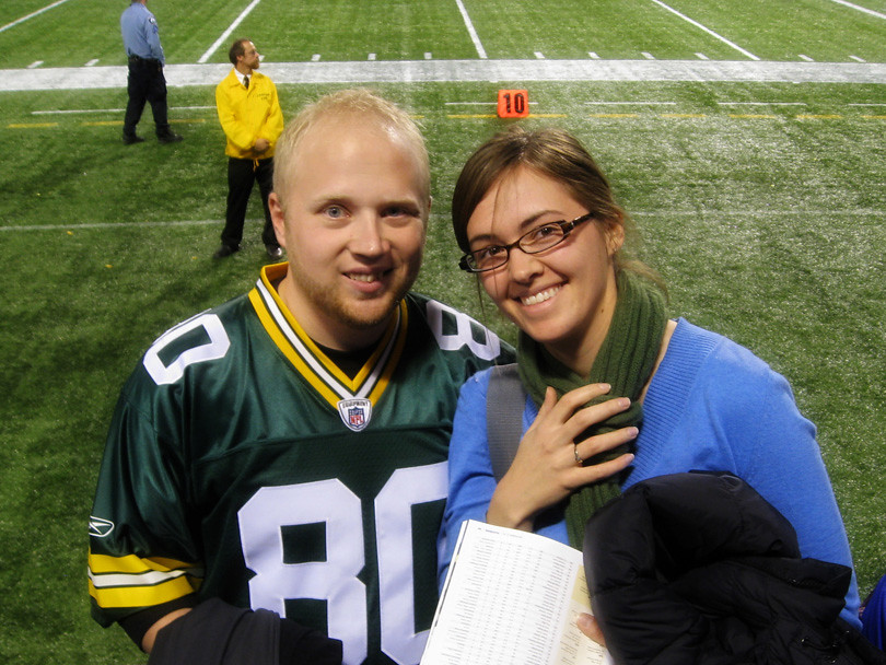 Patrick and I at Packer Viking Game