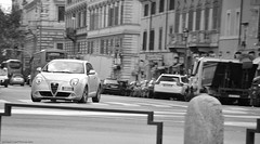 Da Milano a Torino. Via Roma. (Jurriaan Vogel) Tags: auto bw italy rome roma cars car mi torino photography moving movement italian nikon automobile italia shot milano small automotive ferrari alfa romeo to mito panning lamborghini vogel hatchback 2010 zw 18105 d60 8c jurriaan competizione worldcars 18105vr