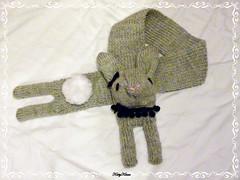 Steel Bunny Scarf (Custom) ( Cateaclysmic ) Tags: white black rabbit bunny scarf grey handmade knit knitted